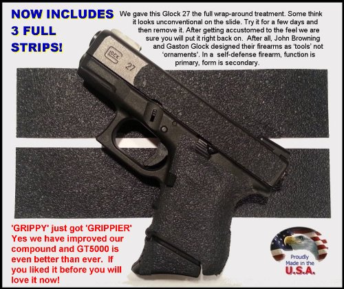 Glock Grip Tape – Pistol Grip Tape. * Use on handguns, rifles, shotguns, cell phones, cameras, knives, the list is endless! * Not gritty like sandpaper or skateboard tape. * Does not scuff clothing, holsters, furniture or car seats like those sandy tapes. * Makes chambering a round easier for arthritis sufferers or anyone with less strength in their hands. * Easy to cut and apply. Follows contours better than other tapes. * Improves wet and dry grip. * Improves accuracy at the range or in an emergency. * Quicker more positive acquisition from holster, waistband, glove box or purse. * Perfect match to Glock texturing. * Durable synthetic rubber. Use on grips and slides. * Removes cleanly with no sticky residue., Outdoor Stuffs