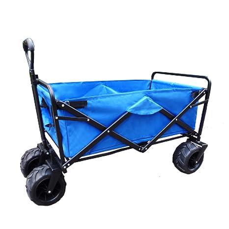 Carro De Playa Marco De Acero Robusto Plegable Portátil Lona Camping Wagon Para Jardín Al Aire