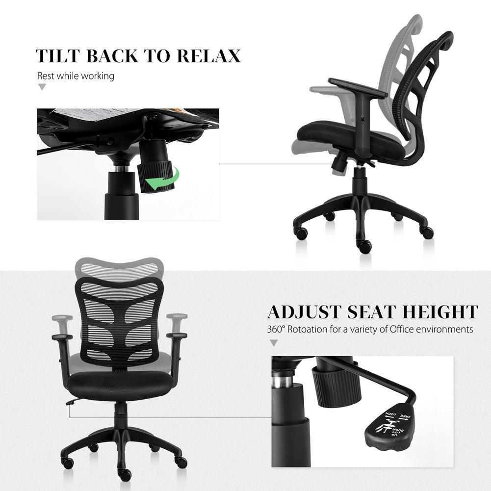 NKV Ergonomic Office Chair Mesh Computer Desk Chair Swivel Task Chair with Adjustable Armrests (Black) by NKV (Image #5)