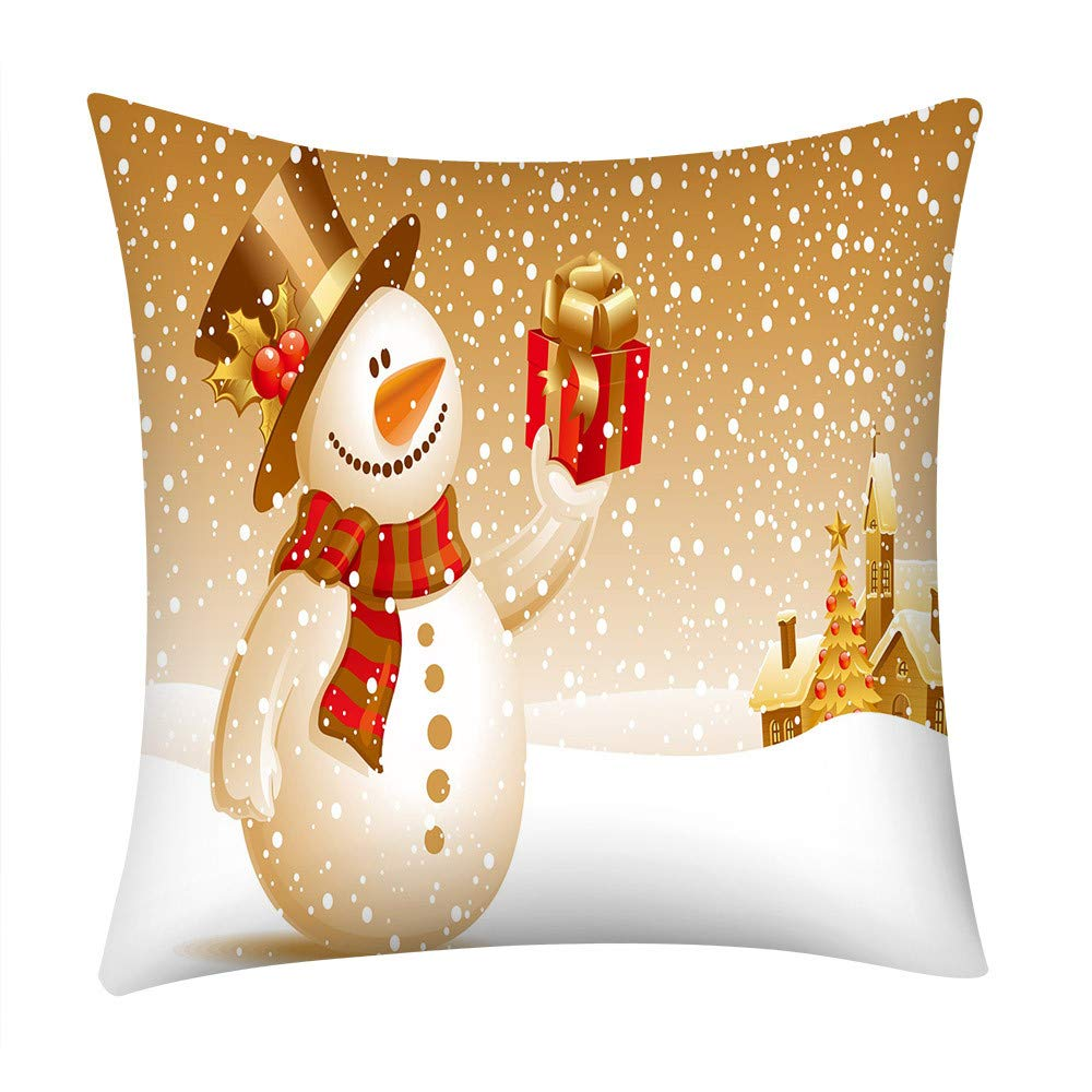 Pgojuni_Pillowcases Merry Christmas Scene Style Pillow Case Polyester Sofa Car Cushion Cover Home Decor Cover Pillow Case1pc (45cm X 45cm) (F)