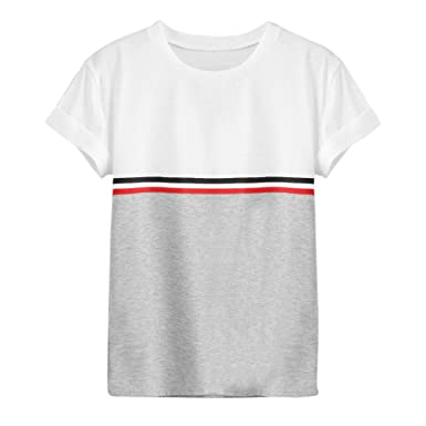 8ddf81d4eaf Amazon.com  Womens Fashion Stripe O-Neck Short Sleeve Patchwork Pullover Tee  T-Shirt Tops Casual Costume  Clothing