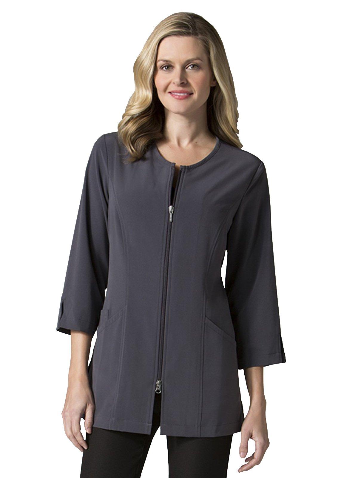 Maevn Smart Lab Coats - Ladies 3/4'' Sleeve Lab Jacket (Small, Pewter)