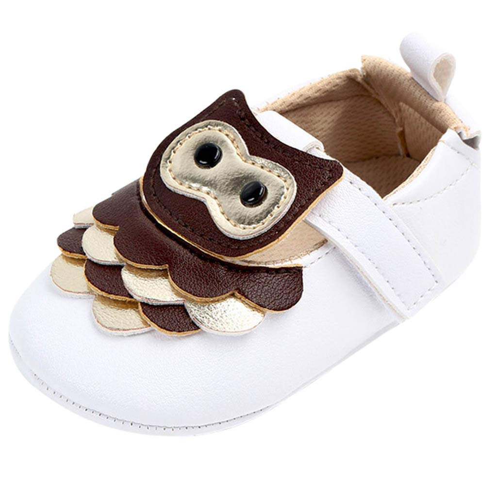 NUWFOR Cute Baby Girls Newborn Infant Cartoon Casual First Walker Toddler Shoes(Brown,0-3Months)