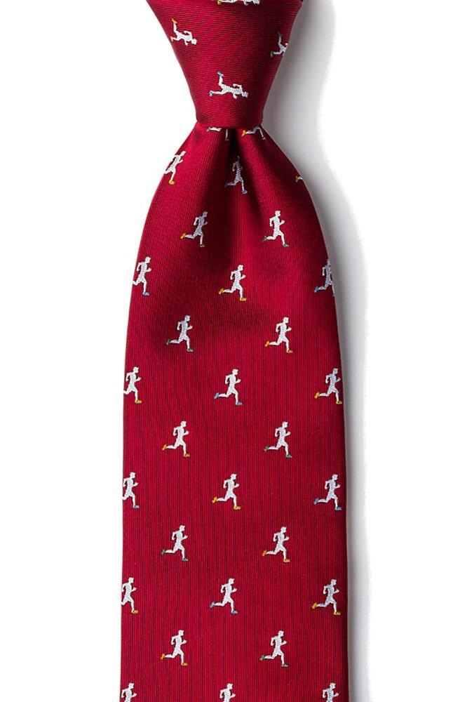 Mens 100% Silk Burgundy Red Runners High Running Necktie Tie Neckwear