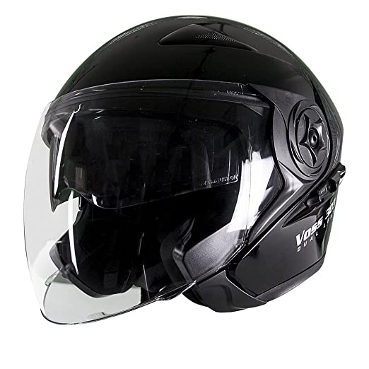 Amazon.com: Voss 303 Dual Lens Cruiser DOT Three Quarter / Open Face Helmet with Integrated Sun Lens and Quick Release System - S - Gloss Black: Automotive