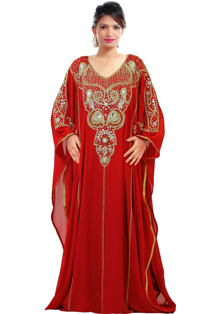 Dubai Very Fancy Kaftan Luxury Crystal Beaded Caftan Abaya Wedding Dress (XXXXL Red)
