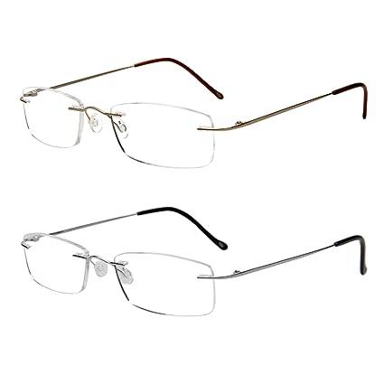 Gafas de lectura LianSan de titanio sin montura para hombres y mujeres ligeras ya la moda 8085 Set +2.50