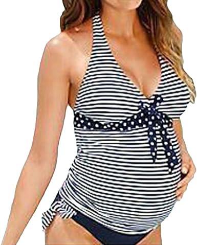 Bikini Maternidad Tankini 2 Piezas Elegante Verano Moda Casual Playa Rayas Ropa Joven Bastante Premama Tallas Grandes Embarazada Ropa Premama Embarazo Banadores Banador Set Women Amazon Es Ropa Y Accesorios
