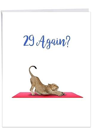 Amazon.com : Wildlife Yoga Lioness - Funny Lion Birthday ...