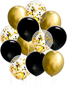 50 Pcs 12 Inches Black and Gold Balloons, Gold Confetti Balloons, Black and Gold Metallic Chrome Latex Balloons for Birthday Party Decorations Graduation Balloon Garland Arch Kit