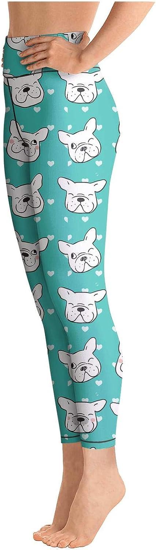 Young Women High Waist Ultra Soft esign of Head Pug Dog Tights Active Yoga Pants Leggings