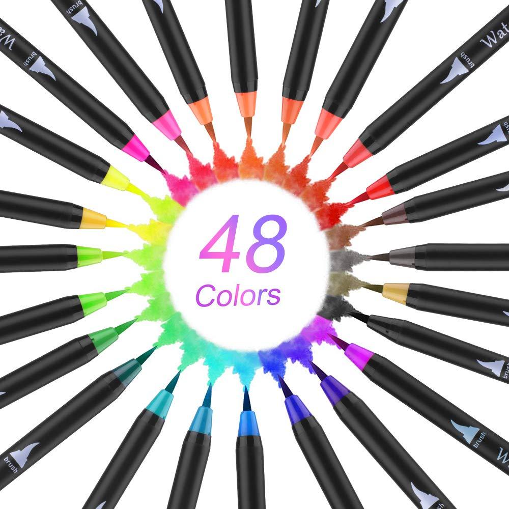 calligrafia,lettering Pennarello ad acquerello per pennelli 48 colori stagione scolastica,disegni 2 Pennello Acqua,Pennarelli Acquarelli per disegno a colori