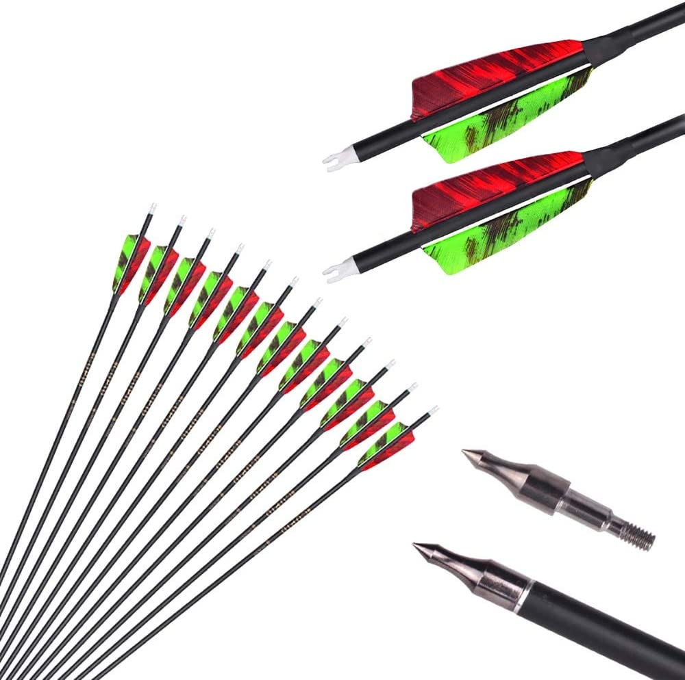 """12pc ID 6.2mm .244"""" Custom Length Carbon Arrows 22-31 Inch 500 Spine Target Practice & Hunting Arrow Rotatable Nock for Recurve Bow Compound Bow Adult Youth Shooting : Sports & Outdoors"""