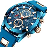 Men Business Watches Chronograph Fashion Casual Watch Blue Sports Waterproof Quartz Wrist Watch with Date Display