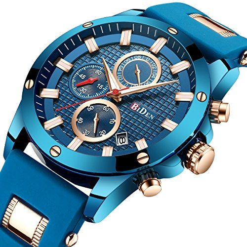 Men Business Watches Chronograph Fashion Casual Watch Blue Sport Waterproof Quartz Wrist Watch for Men with Date Display by BIDEN