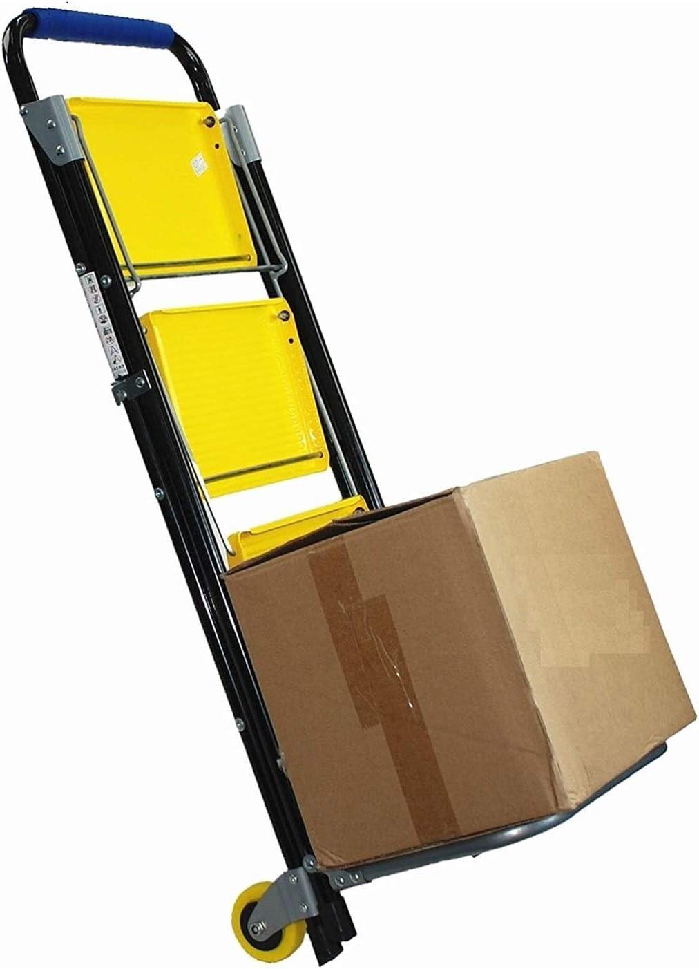 Amarillo 2 en 1 Carretilla Plegable con 3 Escalera Plegable de Seguridad no Slip Mat Acero Resistente port/átil Plegable de Cocina heces Inicio Herramienta for el jard/ín de Bricolaje