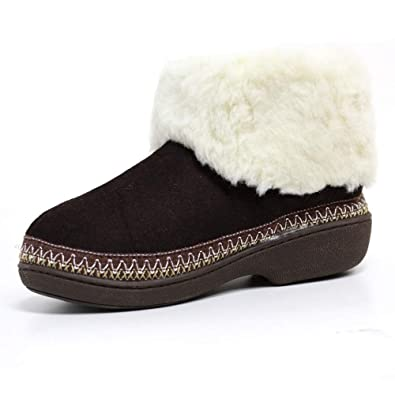 f2db58f979d7 LADIES SLIPPERS WOMENS LUXURY WARM THERMAL BOOTS ANKLE BOOTIE WINTER FUR  SHOES SIZE  Amazon.co.uk  Shoes   Bags