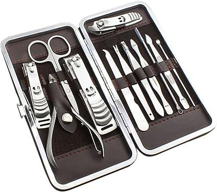 ihrkleid 12pcs nail care Set de pedicura manicura del kit de acicalado en maletín neceseres de accesorios de manicura: Amazon.es: Belleza