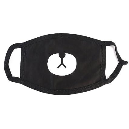 Mascarilla Plegables Contra el Polvo Unisex Mascarilla Algodón (Estilo Oso Blanco Negro)