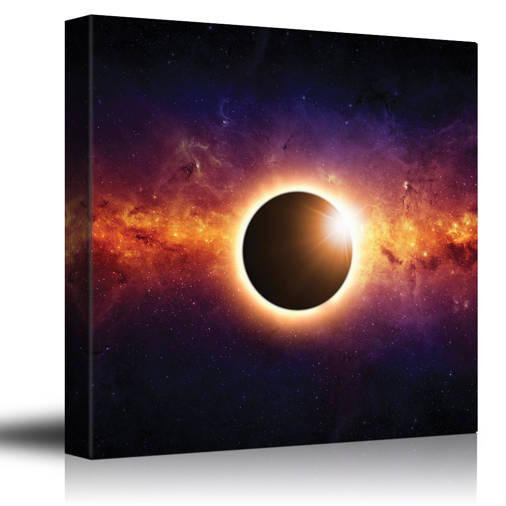 Solar Eclipse on a Colorful Starry Galaxy - Canvas Art Home Art - 12x12 inches