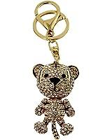 White Rhinestone Tiger Key Chain