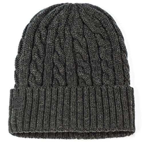 Revony Evony Cable Style Knit Beanie - Dark Grey ()