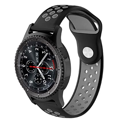 Willibill Gear S3 Bands Soft Silicone Replacement for Band Samsung Gear S3 Frontier/Classic Smart Watch/Huawei Watch 2 Classic Smartwatch (Black-Gray, ...