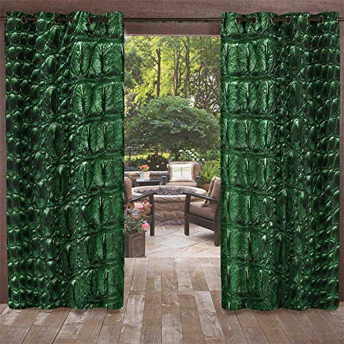 UNOSEKS LANZON Balcony Privacy Curtain Outdoor, Animal Print Crocodile Skin Leather Pattern Dangerous Wild Exotic Animals Lifestyle Illustration Décor Darkening Curtains (Green, 96 x 96 Inches) ()
