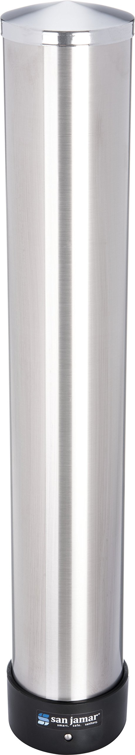 San Jamar C3200P Stainless Steel Pull Type Beverage Cup Dispenser, Fits 6oz to 10oz Cup Size, 2-7/32'' to 3-3/16'' Rim, 23-1/2'' Tube Length