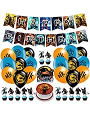 Mortal Kombat Party Decorations Mortal Kombat Birthday Party Supplies,Includes Banner,Ballons,Cake Topper,Cupcake Toppers For Kids and Adults Party Supplies