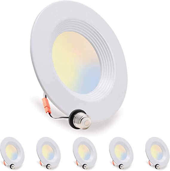 LED Recessed Lighting 5/6 inch Downlight, 10.5W=85W, Dimmable, Damp Rated, 5 Color Changing(Warm to Daylight), Simple Retrofit Installation, Energy Star & ETL Listed, 6 Pack