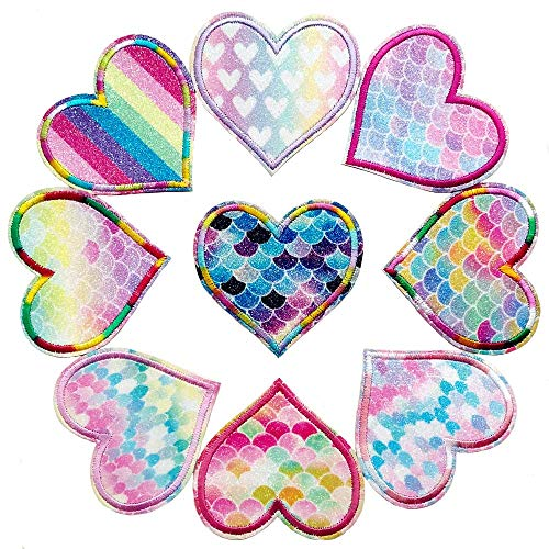 (Qingxi Charm 18pcs Assorted Spark Love Heart Sewing on/Iron on Embroidered Patches Clothes Dress Hat Shoes Curtain Sewing Decorating DIY Craft Embarrassment Applique Patches (Shiny Love Heart 18pcs))