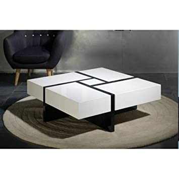 Marckeric Diff Table Basse Design Molly Blanche Et Noire Avec 4