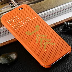 Luxury HTC Desire 830 Case Cover,HIQUE Ultra Slim Dot View Case Folio Flip Smart Displaying Multi-Function Cover For HTC 830 Orange