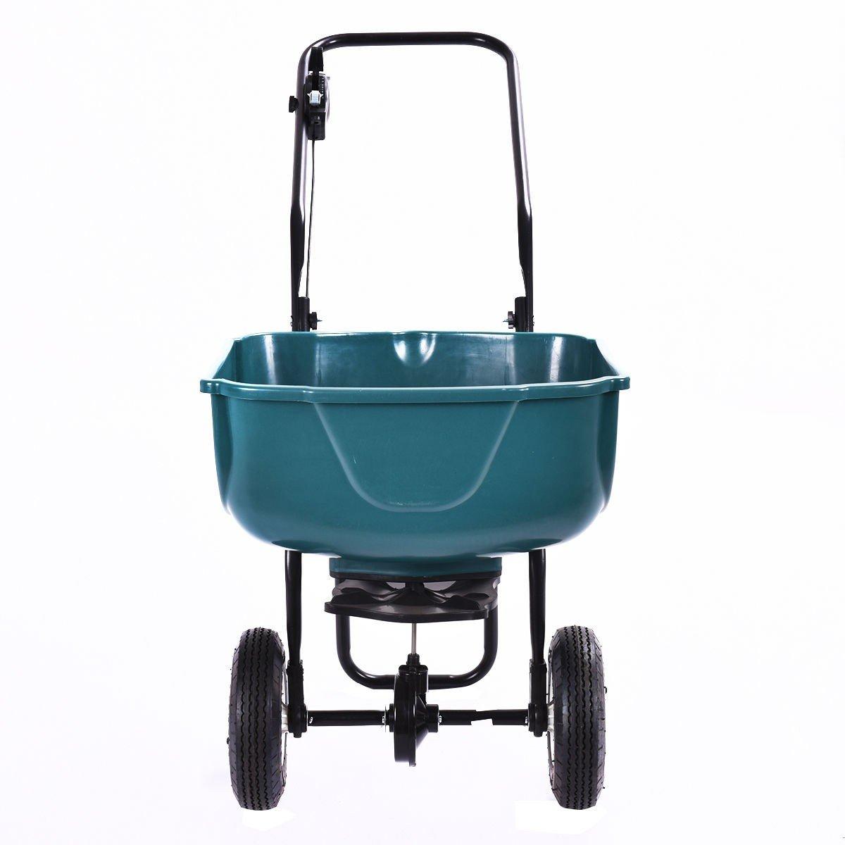 MD Group Spreader Fertilizer Seed Grass Broadcast Push Cart Wheeled Gardening Lawn Equipment
