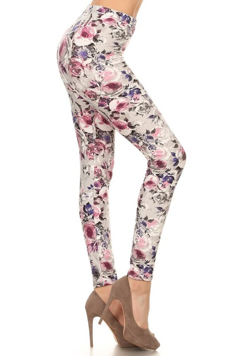 Leggings Depot Women's Ultra Soft Sweet Valentine Love Heart Printed Fashion Leggings (Cherish Rose, Plus Size (Size 12-24))