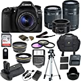 Canon EOS 80D DSLR Camera w/ 5 Lens Bundle including Battery Grip, 18-55mm, 50mm, 55-250mm, 32GB High Speed Memory Card, Wireless Remote, New Accessories Kit (20 Items)