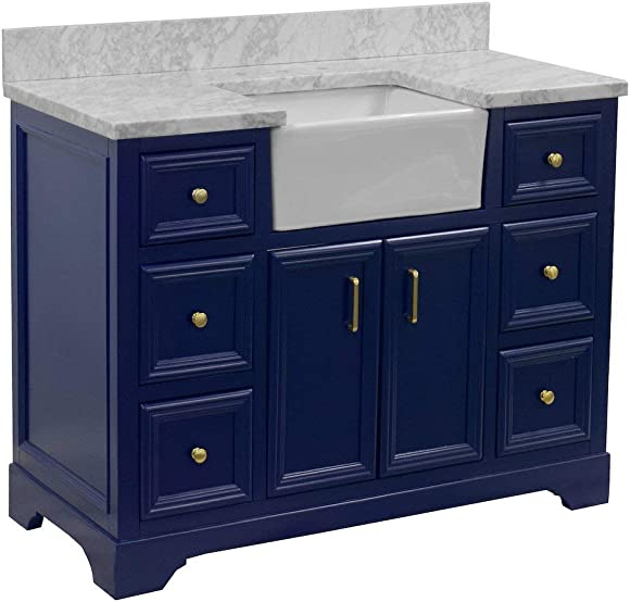 Zelda 48-inch Bathroom Vanity Carrara/Royal Blue : Includes Royal Blue Cabinet
