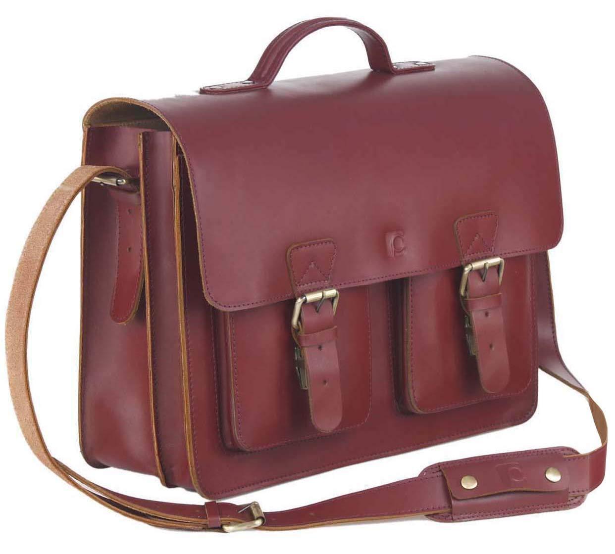 Schoolmaster classic in Bordeaux, stilvolle Lehrertasche & Aktentasche aus echtem Leder, viele Innenfächer, robuste Umhängetasche, 40 x 32 x 18 cm, dunkel-rot viele Innenfächer robuste Umhängetasche