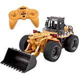 deAO RC Front Loader Construction Truck Bulldozer with Lights 2.4GHz Sync System for Multi Players (Die-Cast Model Scale 1:18)
