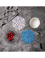 Heat Resistant Coasters Hot Pads Silicone Trivet (Set of 3), Non Slip Trivet Mat Hot Pot Holders, Kitchen Potholders Set Table Pad Table Countertop Protector for Cooking Baking ( Christmas Snowflake )