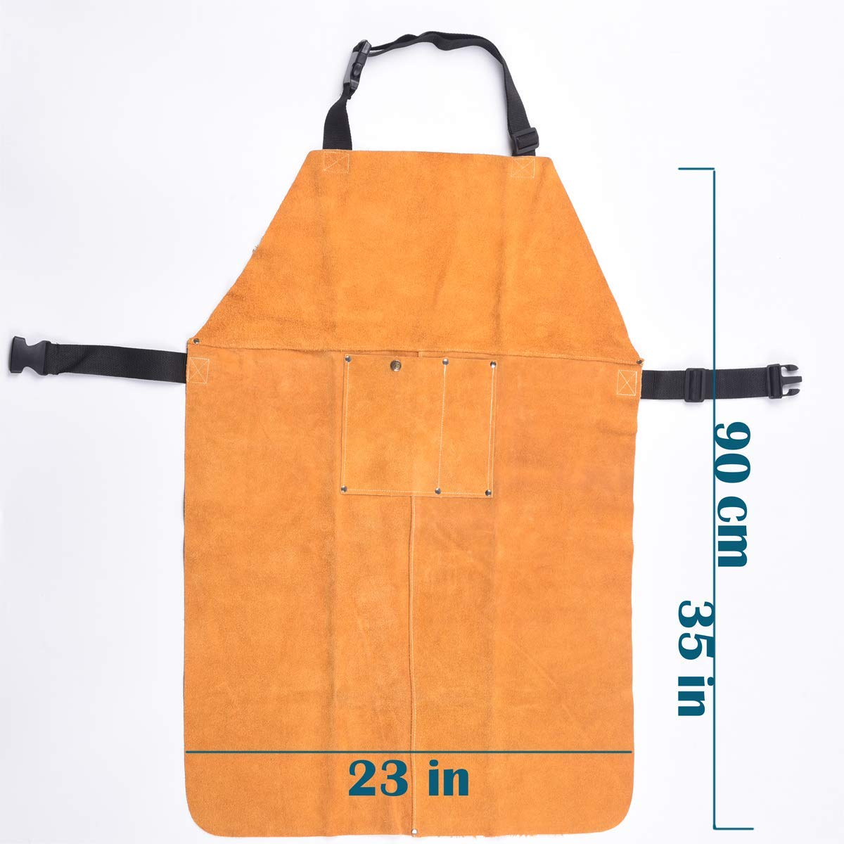 Protective Clothing or Safety Apparel for Blacksmith,Woodwork//Home Improvement//Heavy Duty Work,23x35inch Safety Shop Leather Welding Work Apron,Heat/&Flame Resistant