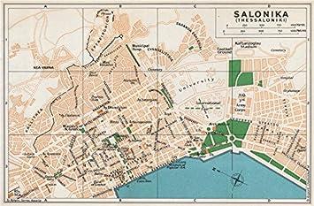 Thessaloniki Karte.Thessaloniki Salonika Vintage Town City Map Plan Griechenland