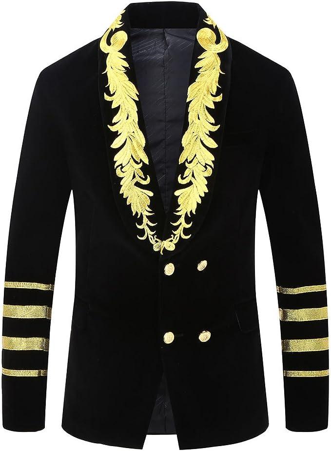Amazon.com: pyjtrl para hombre estilo militar bordado Blazer ...