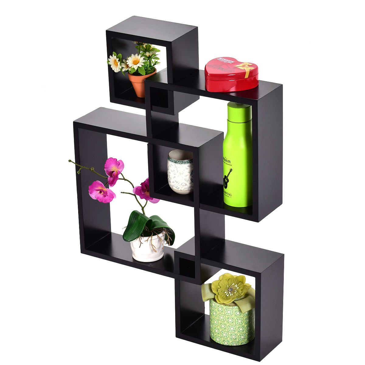 4 Square Floating Shelf Wall black Intersecting Mounted Home Furniture Decor New Modern Decoration