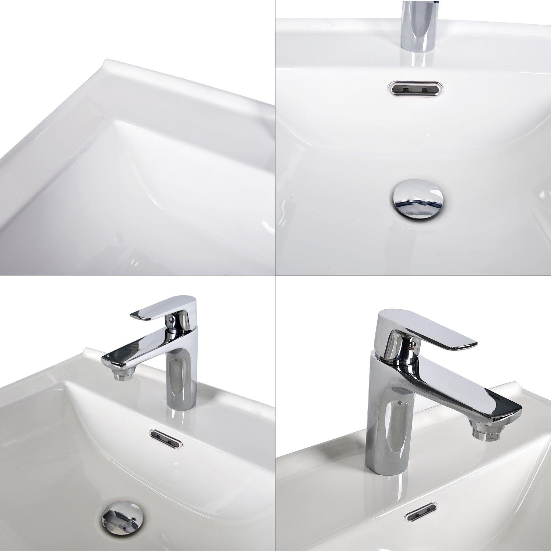 24-Inch Bathroom Vanity, Modern Stand Pedestal Cabinet, with Rectangle Ceramic Undermount Vessel Vanity Sink, Wood Black Fixture by PULUOMIS (Image #5)