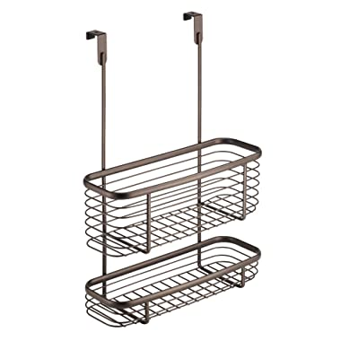 InterDesign Axis Over the Cabinet Kitchen Storage Organizer Basket for Aluminum Foil, Sandwich Bags, Cleaning Supplies - 2-Tier, Bronze