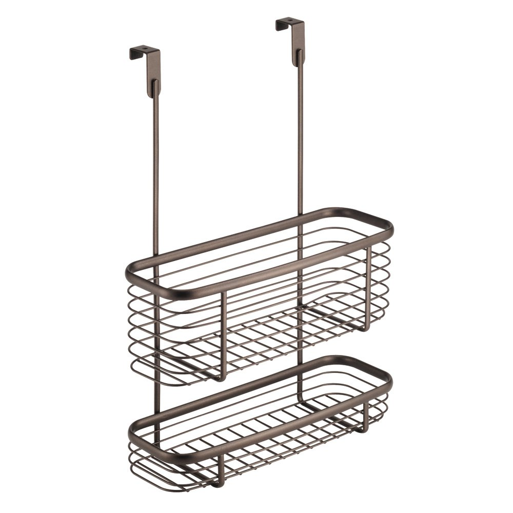 InterDesign Axis Over the Cabinet Kitchen Storage Organizer Basket Aluminum Foil, Sandwich Bags, Cleaning Supplies - 2-Tier, Bronze