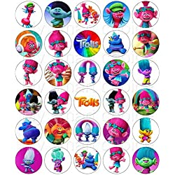 30 x Edible Cupcake Toppers – Trolls Movie Party Collection of Edible Cake Decorations | Uncut Edible Prints on Wafer Sheet