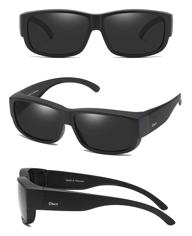f2a82098df Duco POLARISED OVERGLASSES Wraparound Fit Over Glasses for Myopia 8956  (Black Frame Gray Lens)  Amazon.co.uk  Clothing